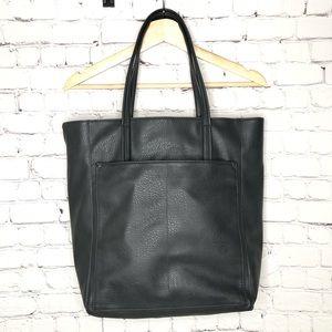Merona Dark Grey Faux Leather Tote Bag